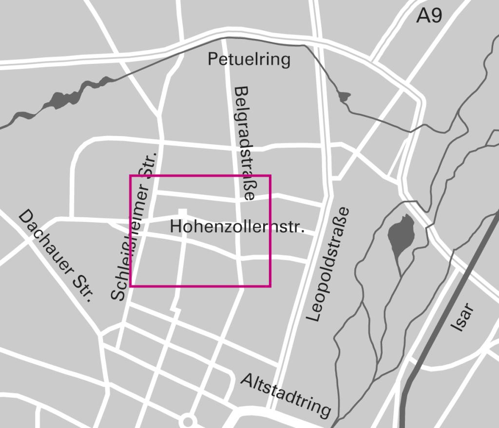 Lageplan, Zoomstufe 2: München - Schwabing